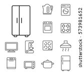 fridge freezer refrigerator... | Shutterstock .eps vector #573981652