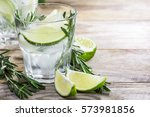 drink with fresh lime and... | Shutterstock . vector #573981856