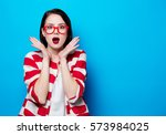 portrait of the beautiful young ... | Shutterstock . vector #573984025