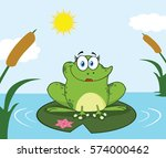 Smiling Frog Female Cartoon...