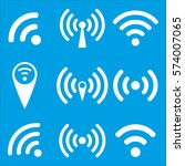 set of wi fi icons and wireless ... | Shutterstock .eps vector #574007065