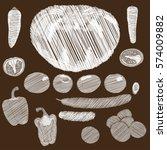 vegetables eco vegan vector... | Shutterstock .eps vector #574009882