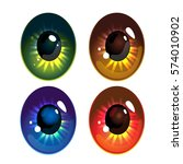 Set Of Cartoon Eyes Isolated O...