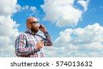 hairless man with beard in... | Shutterstock . vector #574013632