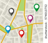 city map with markers. simple... | Shutterstock .eps vector #574013752