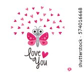 cute vector love card in red... | Shutterstock .eps vector #574016668