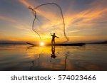 Silhouette Of Myanmar Fisherma...