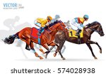 Stock vector four racing horses competing with each other with motion blur to accent speed vector illustration 574028938