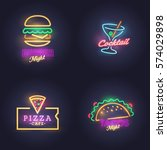 burger neon sign. cocktail ... | Shutterstock .eps vector #574029898