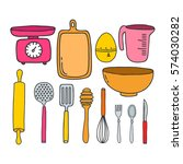 doodle icons. kitchen... | Shutterstock .eps vector #574030282