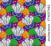 seamless pattern with carnival... | Shutterstock .eps vector #574037482