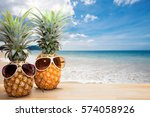 pineapple with sunglasses on... | Shutterstock . vector #574058926