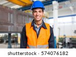 smiling mechanical worker... | Shutterstock . vector #574076182
