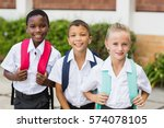 portrait of smiling school kids ... | Shutterstock . vector #574078105