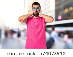 man with colorful clothes... | Shutterstock . vector #574078912