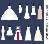 wedding bride dress celebration ... | Shutterstock .eps vector #574089406