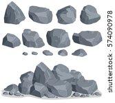 Rock Stone Set Cartoon. Stones...