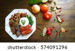 brazilian food dish seen from... | Shutterstock . vector #574091296
