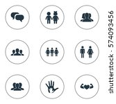 set of 9 simple fellows icons.... | Shutterstock . vector #574093456