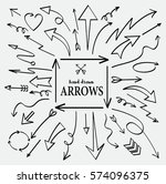 set of arrow hand drawn design... | Shutterstock .eps vector #574096375