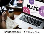 music streaming media... | Shutterstock . vector #574122712