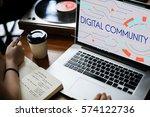 digital community stay... | Shutterstock . vector #574122736