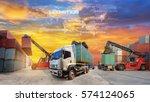 logistics supply chain on... | Shutterstock . vector #574124065
