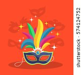 mask with multicolor feather on ... | Shutterstock .eps vector #574124752