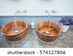 Wooden Bucket Wash Basins And...