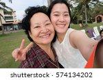 selfie senior woman with...   Shutterstock . vector #574134202