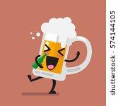 drunk beer glass character.... | Shutterstock .eps vector #574144105