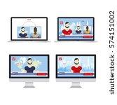 anchorman in breaking news in...   Shutterstock .eps vector #574151002