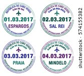 passport stamps cape verde in... | Shutterstock .eps vector #574155382