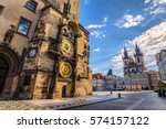 Prague Old Town Square Czech Republic, sunrise city skyline at Astronomical Clock Tower