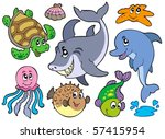 happy sea animals collection  ... | Shutterstock .eps vector #57415954
