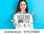 interns wanted text with young... | Shutterstock . vector #574170085