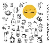 big vector hand drawn set. illustrations of alcoholic cocktails, drinks, tea, coffee. sketch for menu bars and restaurants | Shutterstock vector #574170226