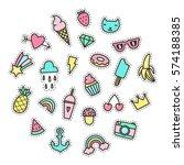 set of cute pop stickers....   Shutterstock .eps vector #574188385