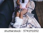 girl with cat   Shutterstock . vector #574191052