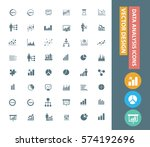 analysis icon set clean vector | Shutterstock .eps vector #574192696