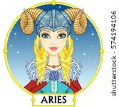 zodiac sign aries. fantastic... | Shutterstock .eps vector #574194106
