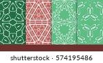 set of decorative floral... | Shutterstock .eps vector #574195486