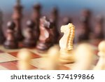chess pieces knights facing...   Shutterstock . vector #574199866