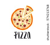 pizza lettering with hand drawn ... | Shutterstock .eps vector #574213768