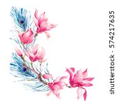 watercolor floral spring... | Shutterstock . vector #574217635