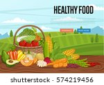 healthy food banner with... | Shutterstock .eps vector #574219456