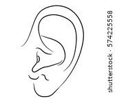 human ear of monochrome vector... | Shutterstock .eps vector #574225558