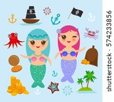 kawaii mermaid with blue pink... | Shutterstock .eps vector #574233856