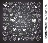 hearts and love symbols. hand... | Shutterstock .eps vector #574234876