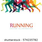 running marathon  people run ... | Shutterstock .eps vector #574235782